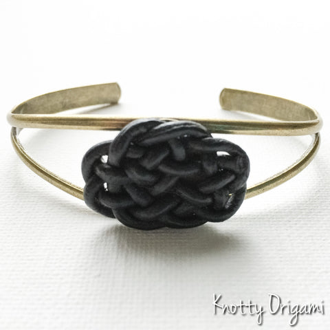Ellipse Knot Cuff {Black Leather & Brass}