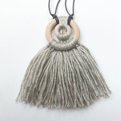 Double Wooden Hoop Micro-Macrame Necklace