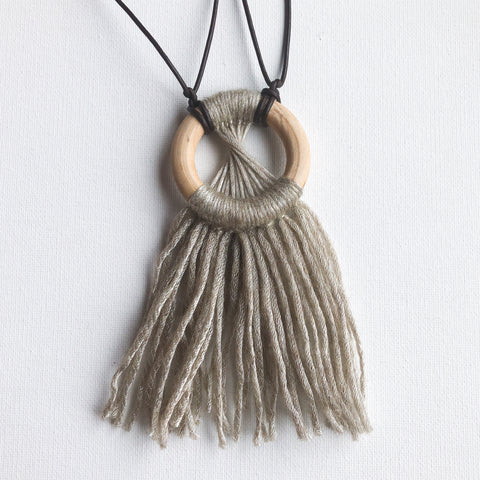 Wooden Hoop Micro-Macrame Necklace