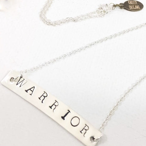Sterling Silver Stamped Bar Necklace