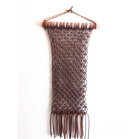 Macrame Wall Hanging ( Brown Square Knot & Suede)