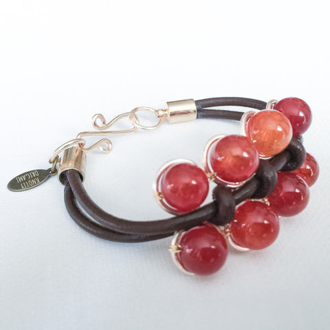 Wired Lattice Leather Bracelet