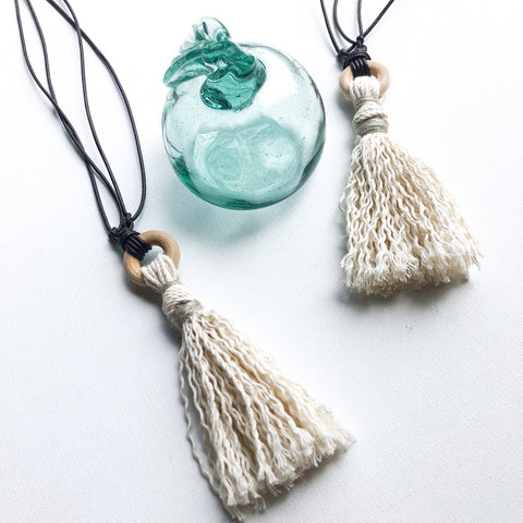 Natural Tassel Micro-Macrame Necklace