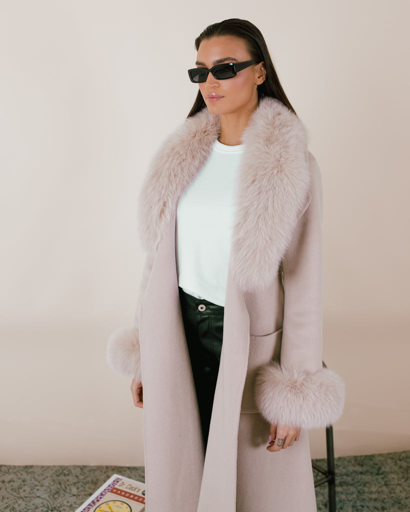Fur Trim Wool Coat