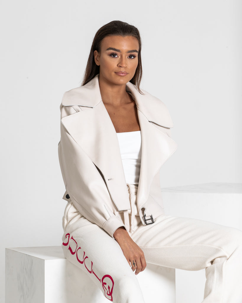 Oversized Leather Jacket with Buckle and Pockets White Plaster