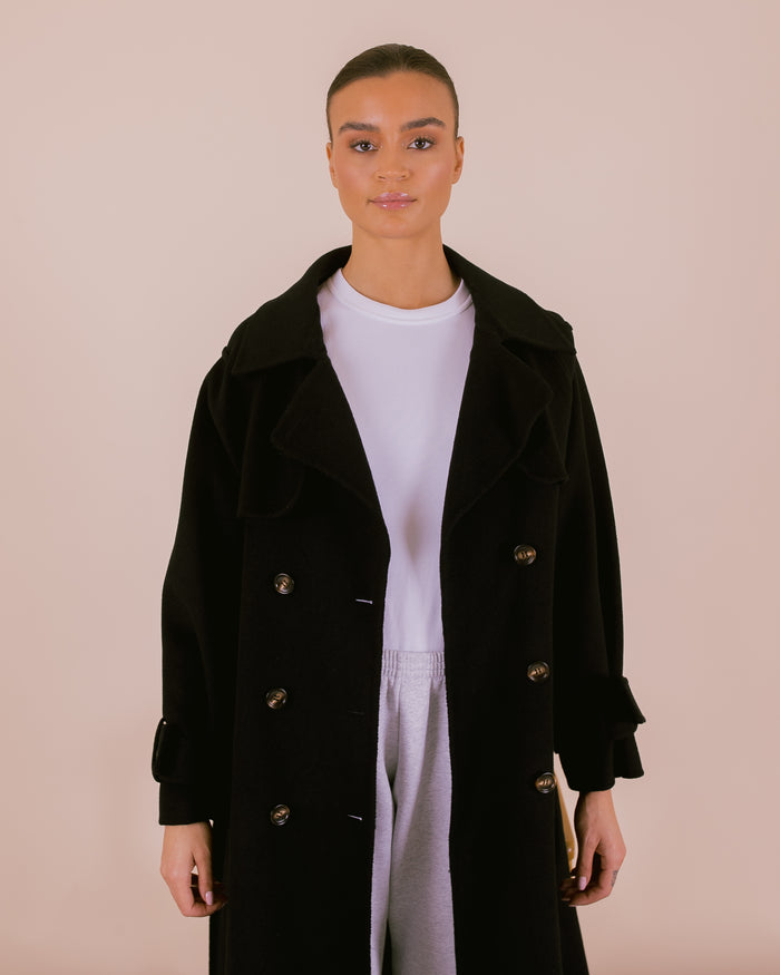 Wool Trench Black