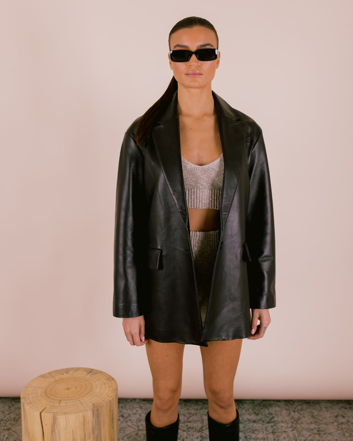 Oversized Leather Lambskin Blazer Black