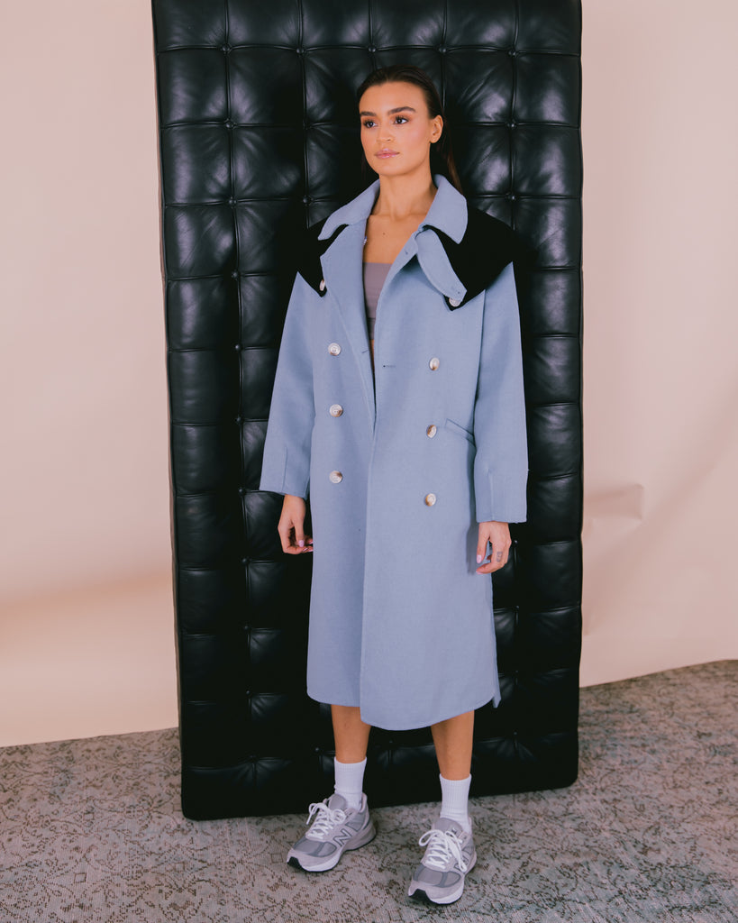Detachable Wool Coat Blue