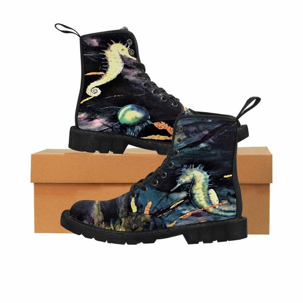 The midnight sea- Martens Canvas Boots - MaWeePet- Art on Apparel
