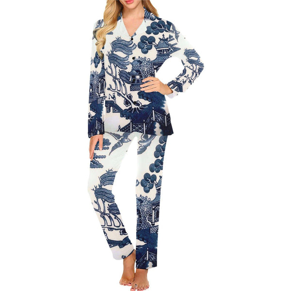 Willow Pattern Pajamas Women's Long Pajama Set (Sets two pieces) - MaWeePet- Art on Apparel