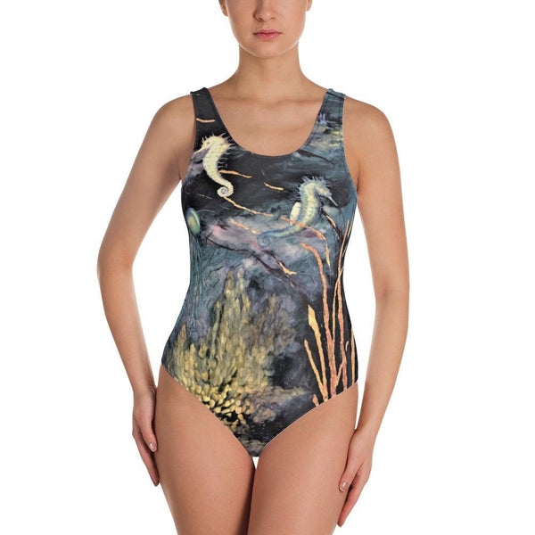 Midnight Sea Low Back One-Piece Swimsuit - MaWeePet- Art on Apparel