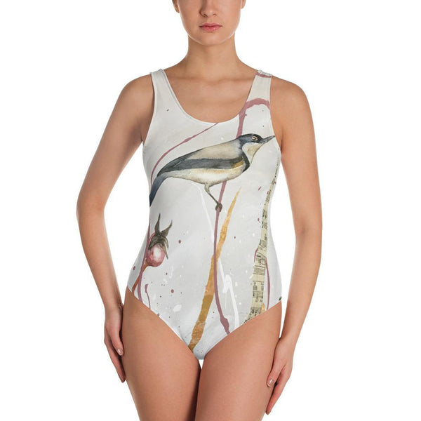 Saplings- Low Back One-Piece Swimsuit - MaWeePet- Art on Apparel