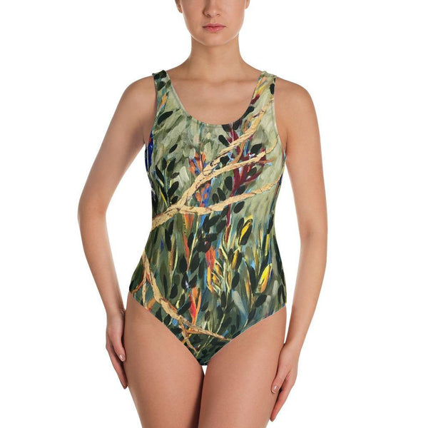 Us against the world- Low Back One-Piece Swimsuit - MaWeePet- Art on Apparel
