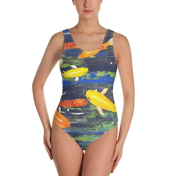 Koi Boi One-Low Back Piece Swimsuit - MaWeePet- Art on Apparel