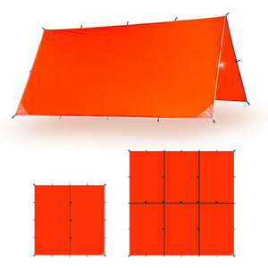 Waterproof Camping Tarp, Survivor Emergency Tarp | 10 x 10 / Orange - AquaQuest