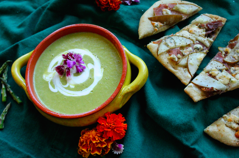 Creamy Asparagus Soup with Naan Flatbreads