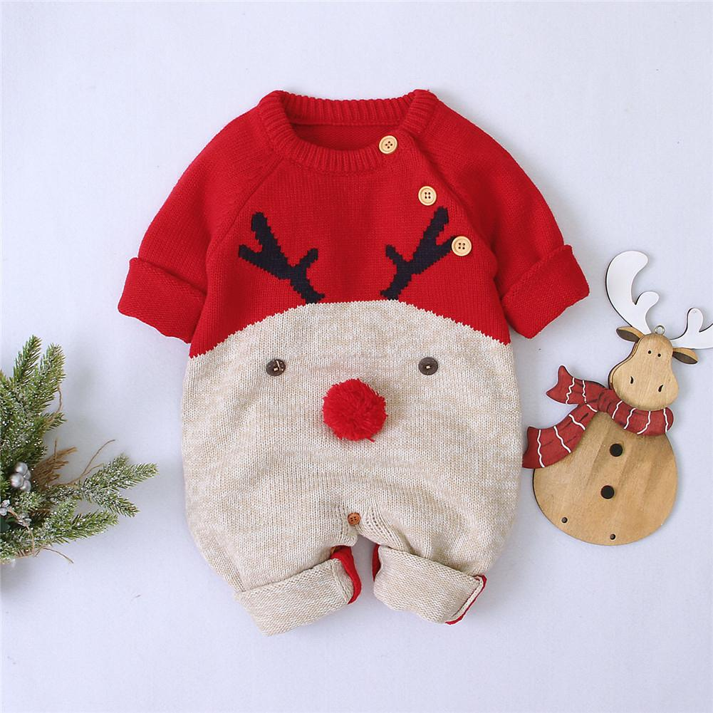 2020 New Winter Christmas Newborn Baby Girl Knitted Romper Jumpsuit Overall Sweater Warm Fall Autumn Wool Xmas Clothes - Bombibib