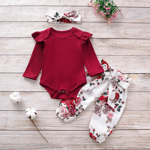 3 pieces beautiful Burgundy Floral Set - Bombibib Baby CLothes, Children Clothing