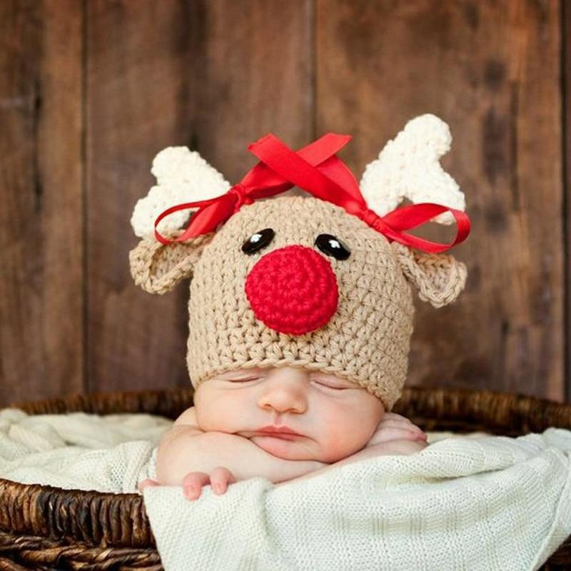 Christmas Newborn Infant Baby Boy Girl Hats Cartoon Crochet Knitted Bowknot Christmas Deer Baby Cap Photography Props 0-4M - Bombibib