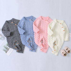Knitted Long Sleeve Baby Romper for Winter - Bombibib