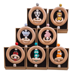 Cute Wooden Bell Rattle with Animal Features