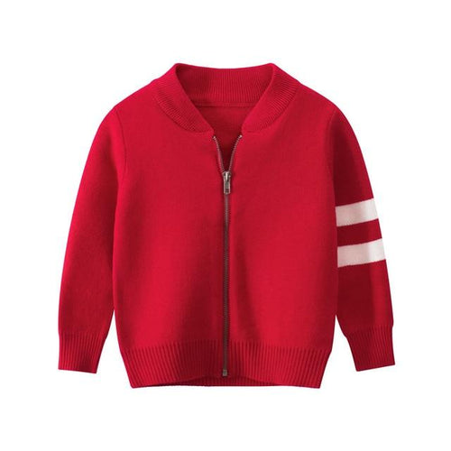 Red Knitted Jacket with Two Stripes