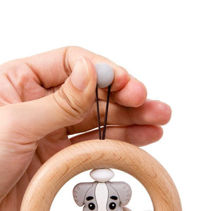 Wooden Bell Rattle with Animal Ornament - Bombibib