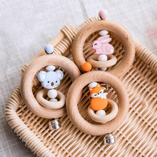 Load image into Gallery viewer, Cute Wooden Bell Rattle with Animal Features