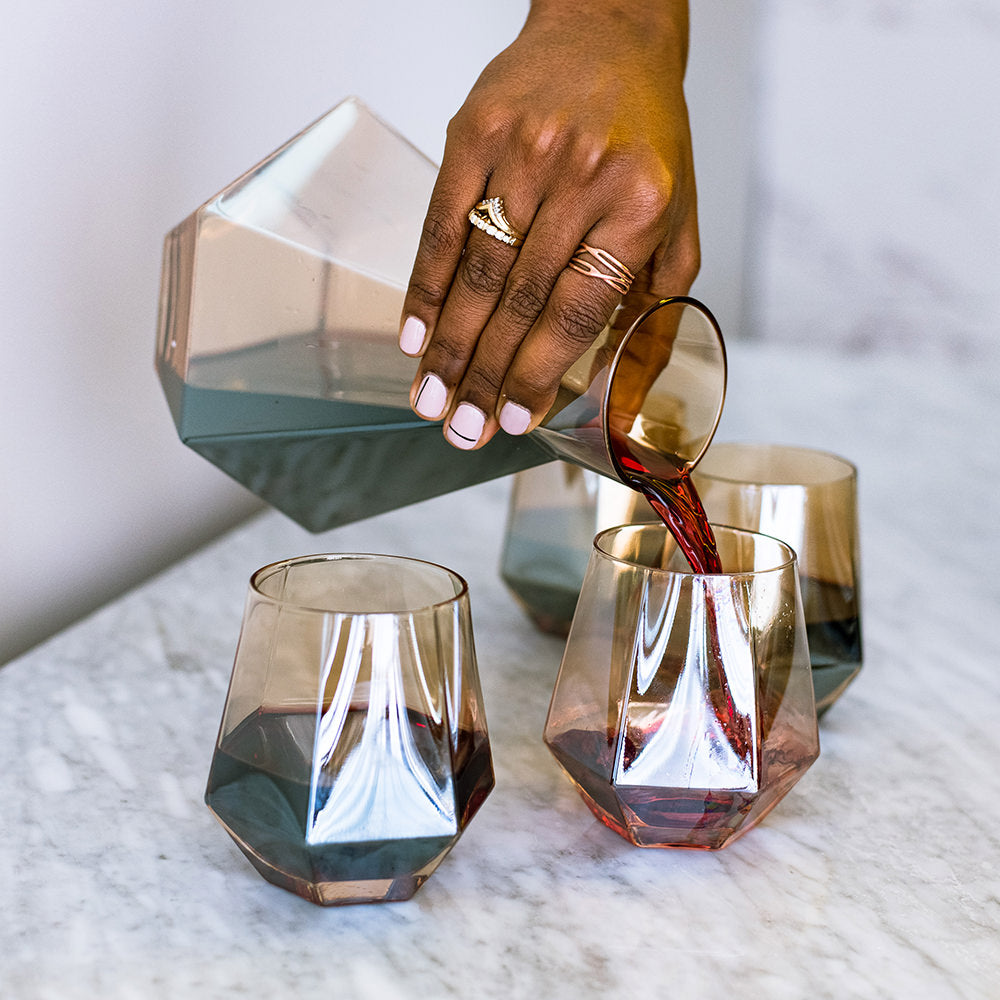 Pre-Order: Decanter & Amber Diamond Wine Glasses