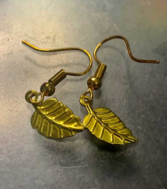 Gold Colored Plant Earrings  - Accessories