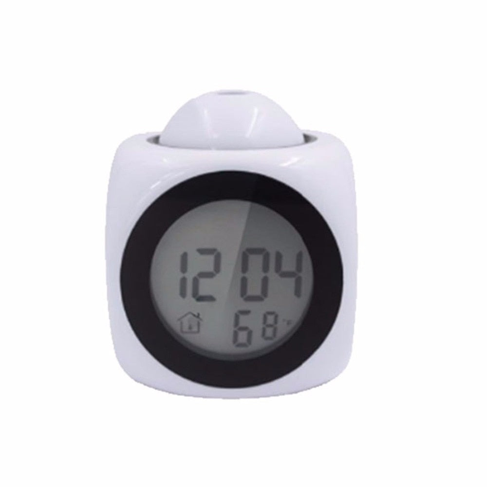 LCD Projection LED Display Time Digital Alarm Clock Talking Voice Prompt Thermometer Snooze Function Desk