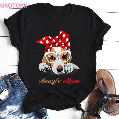 Kawaii Dog Mom Print Short Sleeved T-shirt For Women - Whiskerr