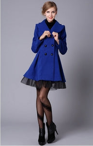 New fashion Slim Casual Women's Wool cashmere Coats double breasted trenchcoat