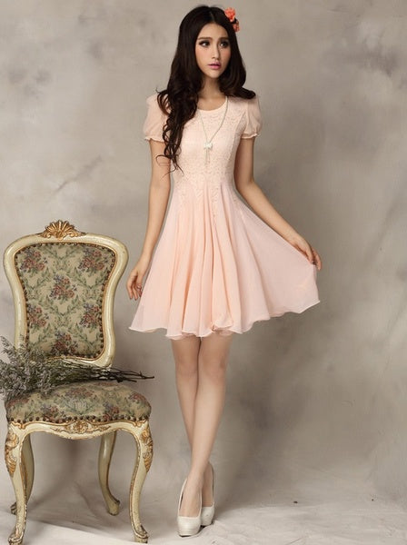 2014 new hot women summer dress fashion cozy  dress chiffon elegant noble girl dress lace big pendulum plus size S-XXL