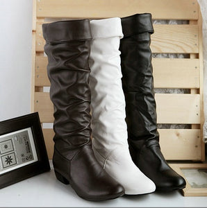 Large size boots New Black Sexy PU Leather Flat Knee High Boots Strap Round toe Casual Ladies' shoes