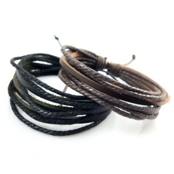 Men's Fashion Vintage Leather Accessories Black & Brown Adjustable Casual Bracelet Men's Jewelry