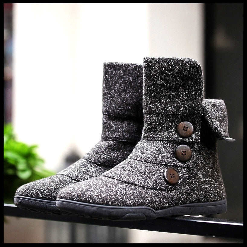 The new men's casual wool boots snow boots high boots help button boots