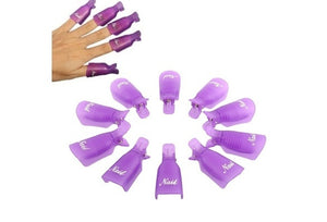 10PC Plastic Nail Art Soak Off Cap Clip UV Gel Polish Remover Wrap PP Beauty