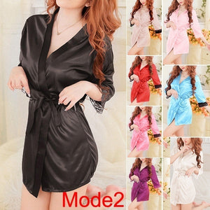 DLOVES Womens Sexy Lace Gown Open Bath Robe Babydoll Sexy Silk Kimono Dressing Lingerie Set wml064-150811005D02