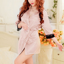 Load image into Gallery viewer, DLOVES Womens Sexy Lace Gown Open Bath Robe Babydoll Sexy Silk Kimono Dressing Lingerie Set wml064-150811005D02