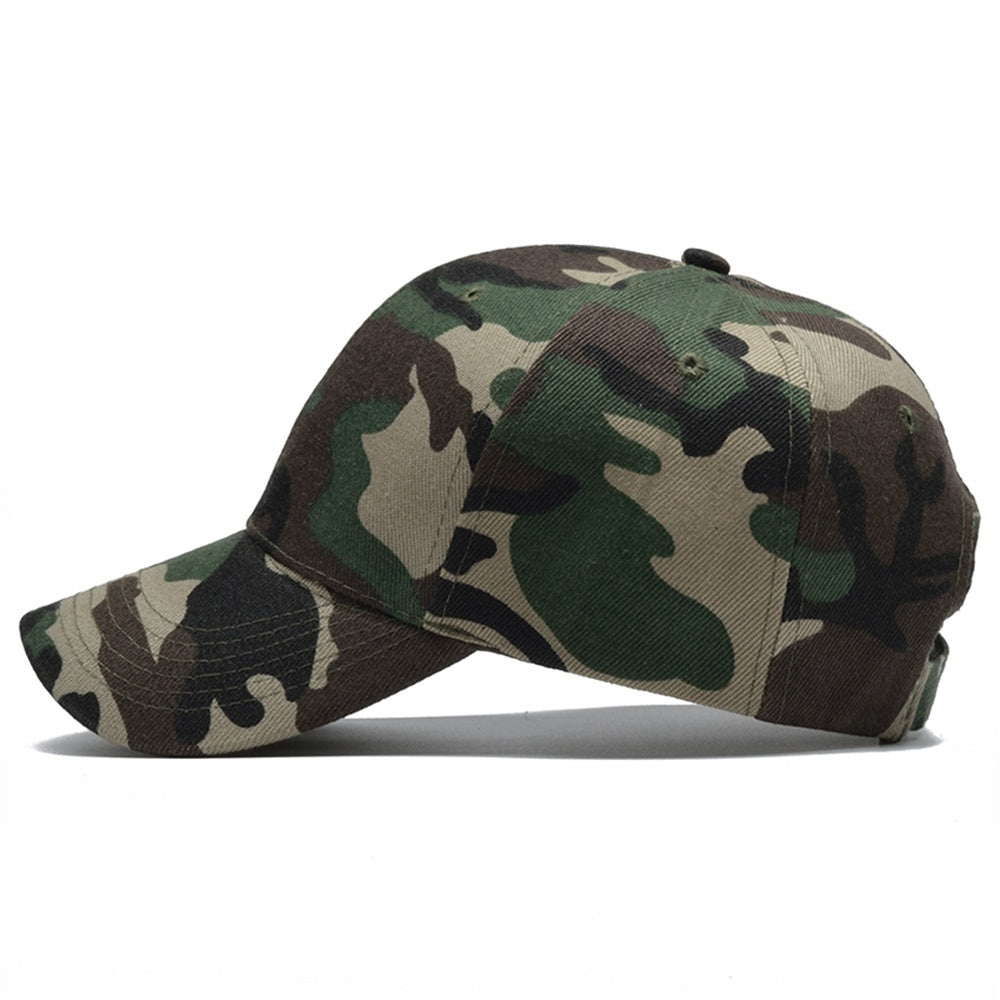Men Women Military Camouflage Baseball Hat Hip Hop Cap with Hook & Loop Strap