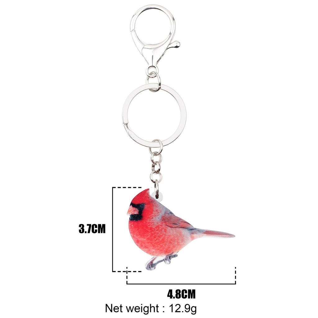 Acrylic Cute Red Northern Cardinal Bird Key Chains Ring Keychains Animal Gift Jewelry For Women Girls Bag Charms