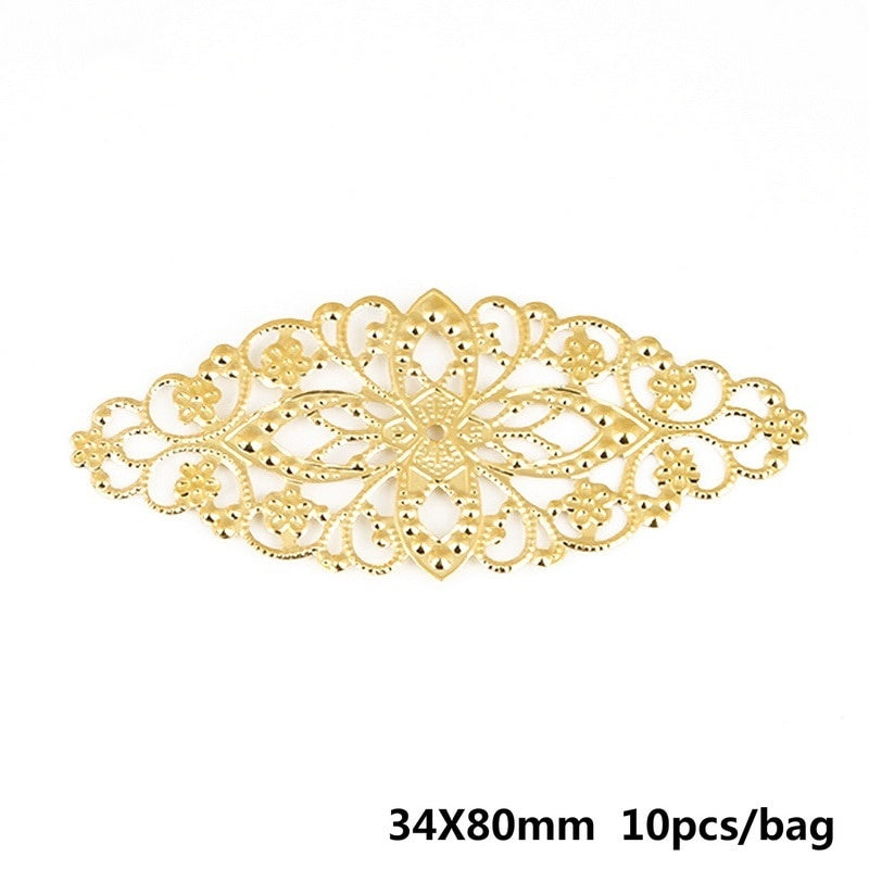 10pcs Gold/Bronze/Rhodium Plated Filigree Flower Wraps Connectors Charm Pendant For Necklace Jewelry Making Findings
