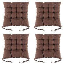 Load image into Gallery viewer, 4PCS Non-Slip Dining Chair Seat Pads with Ties Square Thick Booster Cushion for Dining Living Room Office Chair