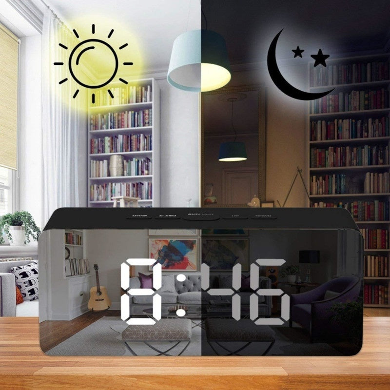 Multifunction LED Mirror Alarm Clock Digital Snooze Table Clock Wake Up Light Electronic Time Temperature Display Home Decoration Clock Despertador