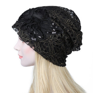 Fashion sequins Butterfly flower lace headgear hollow pile hat headband bonnet cap