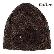 Load image into Gallery viewer, Fashion sequins Butterfly flower lace headgear hollow pile hat headband bonnet cap