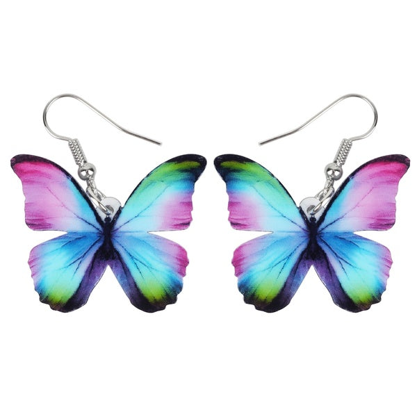 Acrylic Lovely Floral Butterfly Earrings Drop Dangle Fashion Jewelry For Women Girls Kids Charms Gifts Party Accessories
