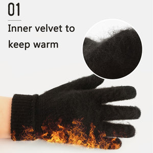 Men Women Winter Thermal Knitted Gloves Warm Wool Velvet Fleece Full Finger Mittens Full-Palm Antiskid Gloves