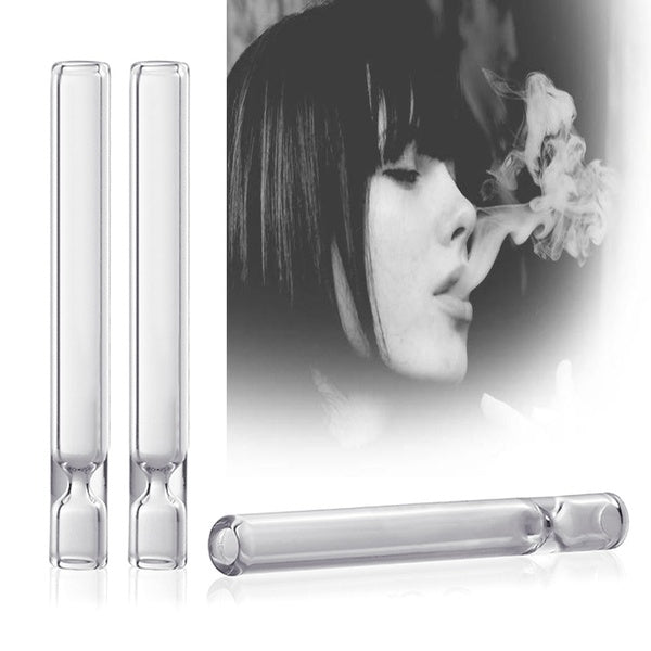 2pcs Glass Smoking Pipe Cigarette Holder Pipe Hookah Filter Smoke Tar High Quality Cigarette Pipe